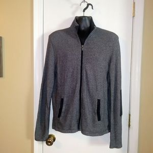 Michael Kors Striped Zip Up Jacket Elbow Patches